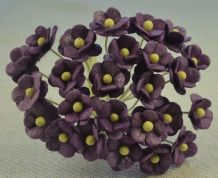1.3cm DARK LILAC DOUBLE-LAYERED Daisy Mulberry Paper Flowers